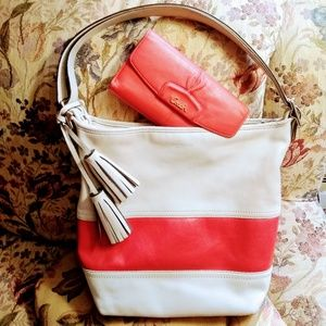 😍Coach Bag Wallet Set Leather Red & White Large